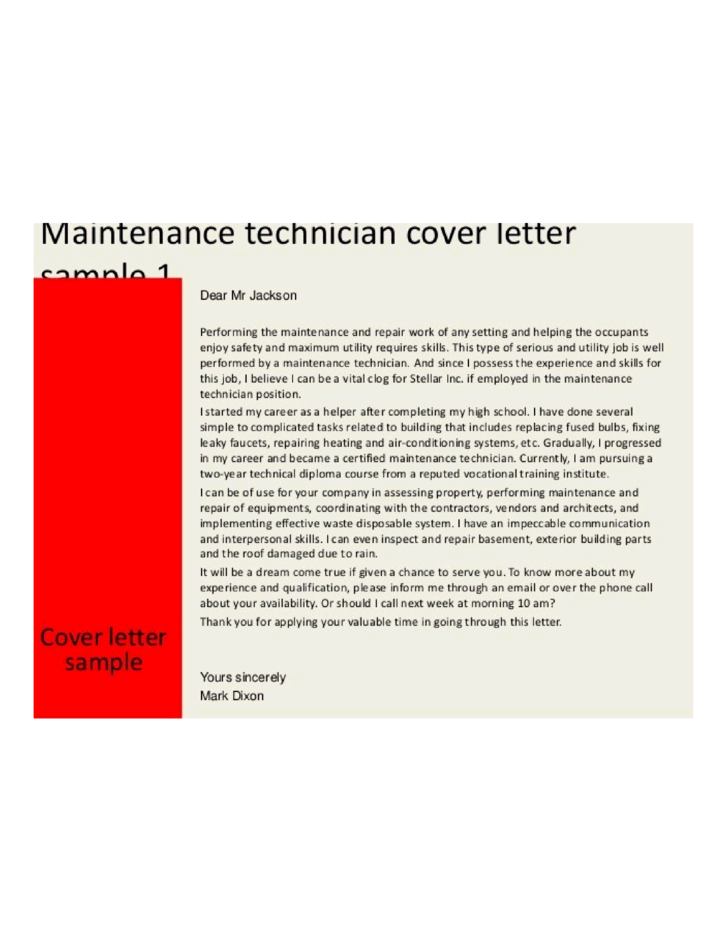 cover letter for maintenance mechanic position - basic maintenance technician cover letter samples and