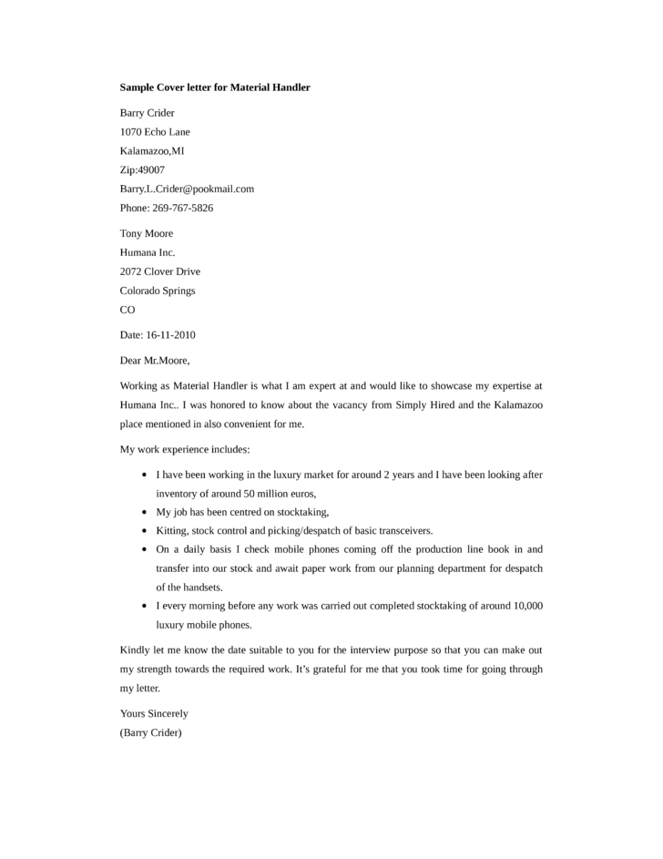 basic material handler cover letter sles and templates