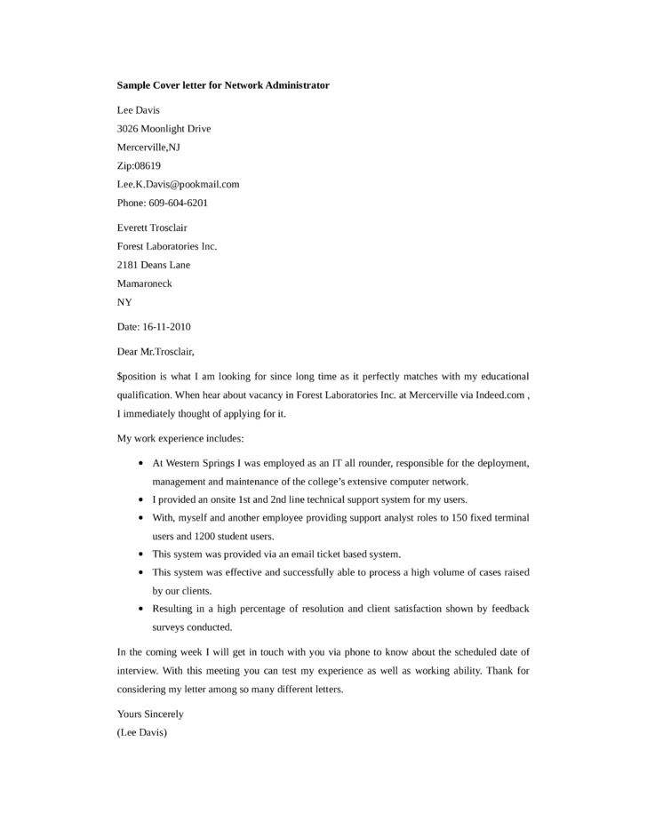 network administrator cover letter samples