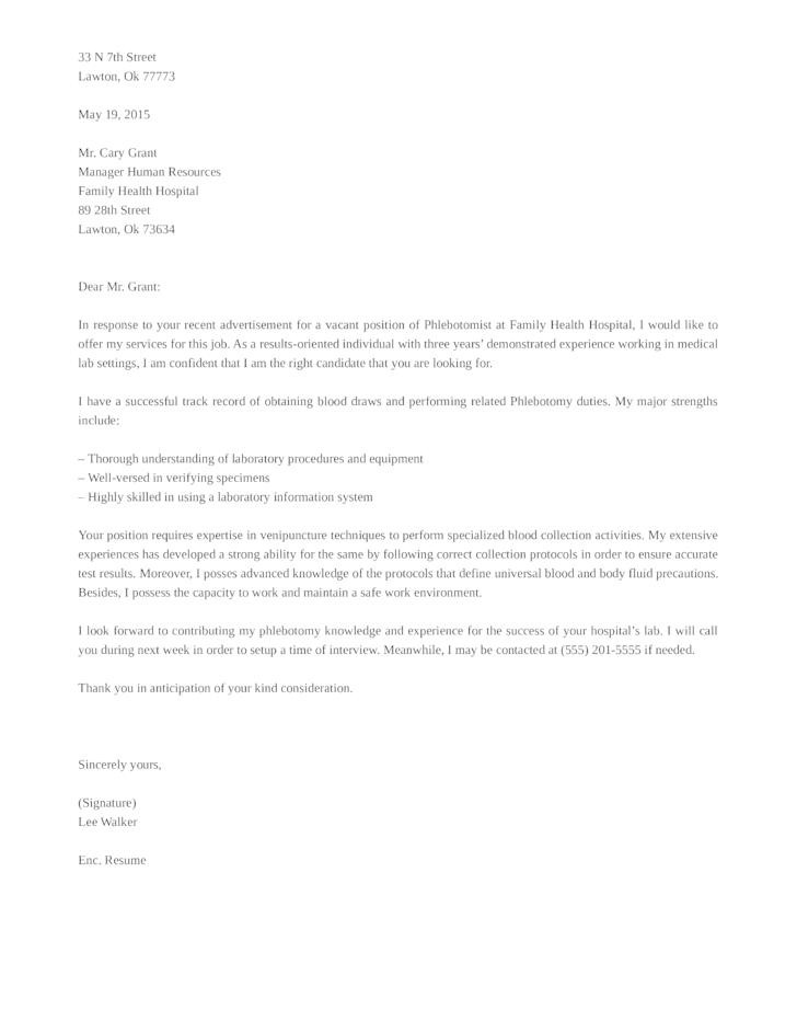 basic phlebotomist cover letter - Phlebotomist Cover Letter