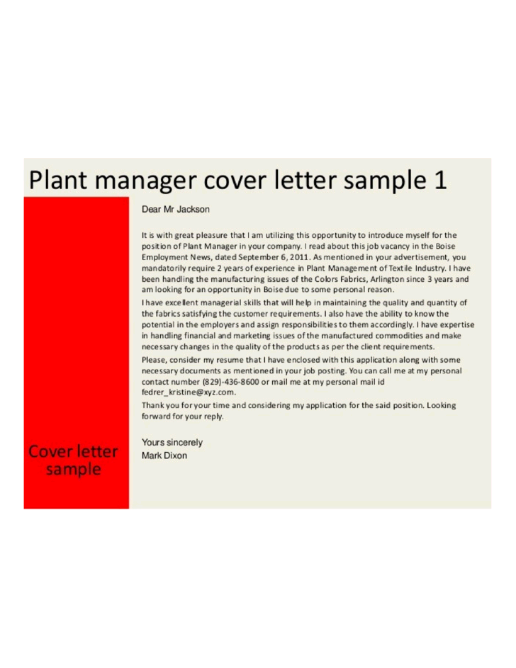 Basic Plant Manager Cover Letter