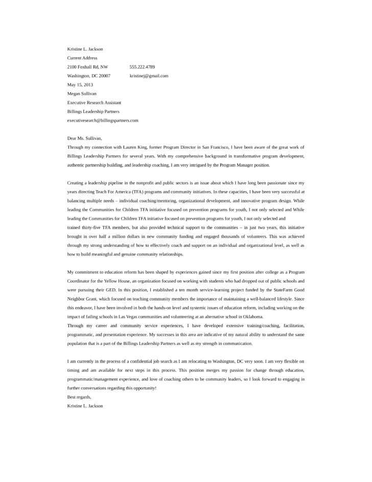 basic program manager cover letter samples and templates