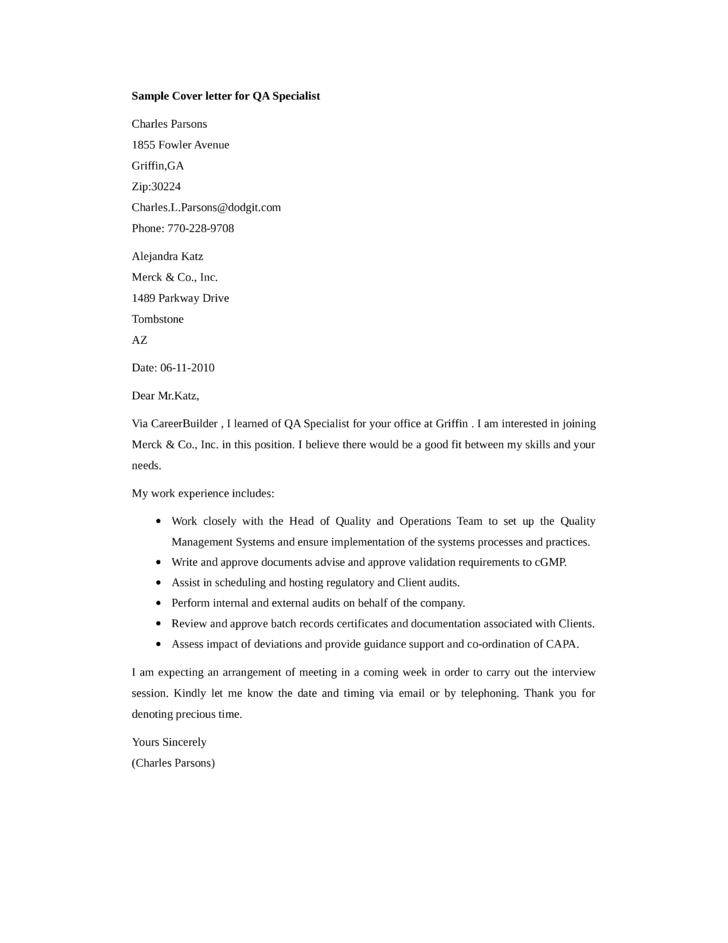 basic qa specialist cover letter samples and templates