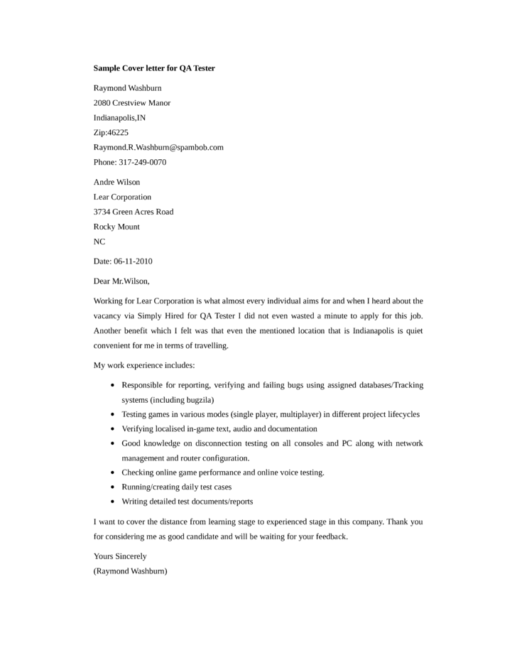 video game qa tester cover letter