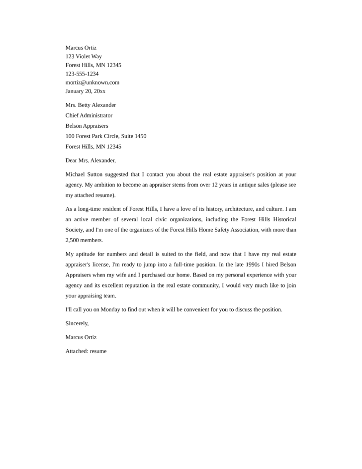 covering letter for estate agent job - basic real estate appraiser cover letter samples and templates
