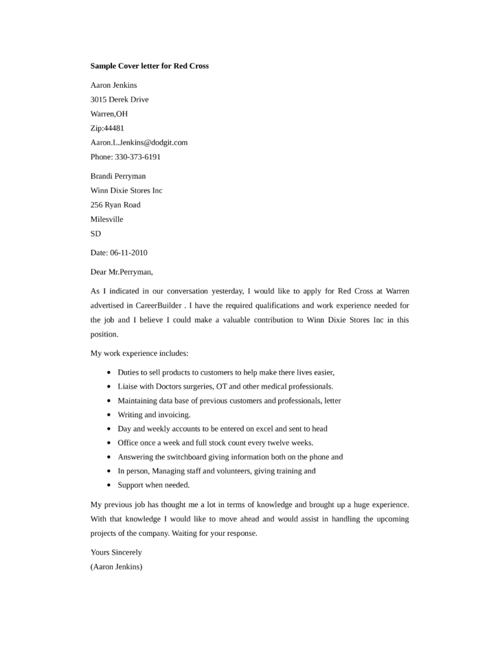 basic red cross cover letter samples and templates
