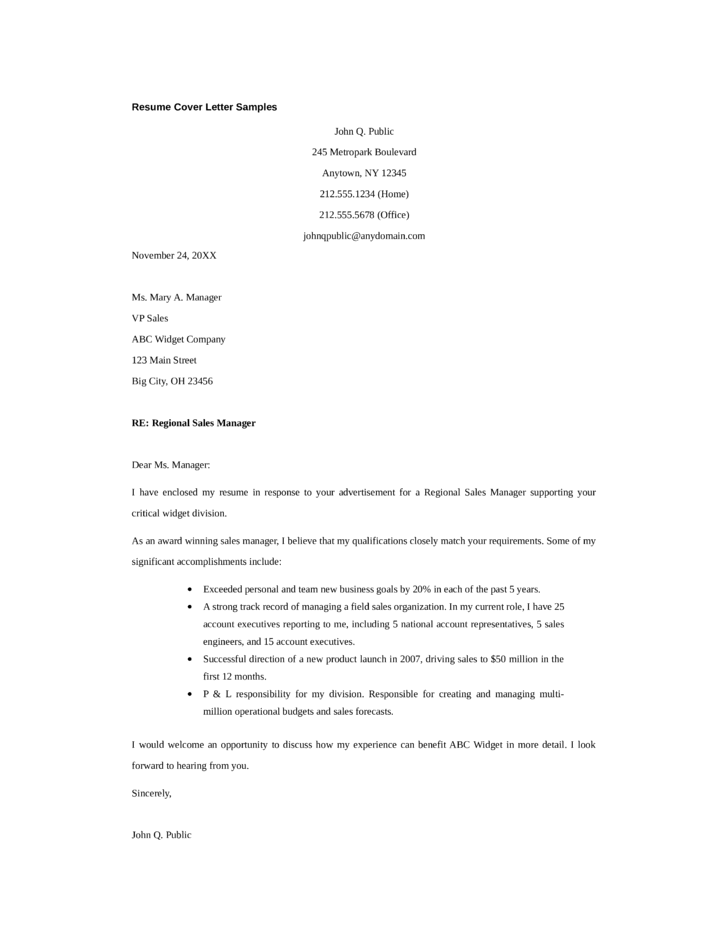 basic regional sales manager cover letter - Regional Sales Manager Cover Letter
