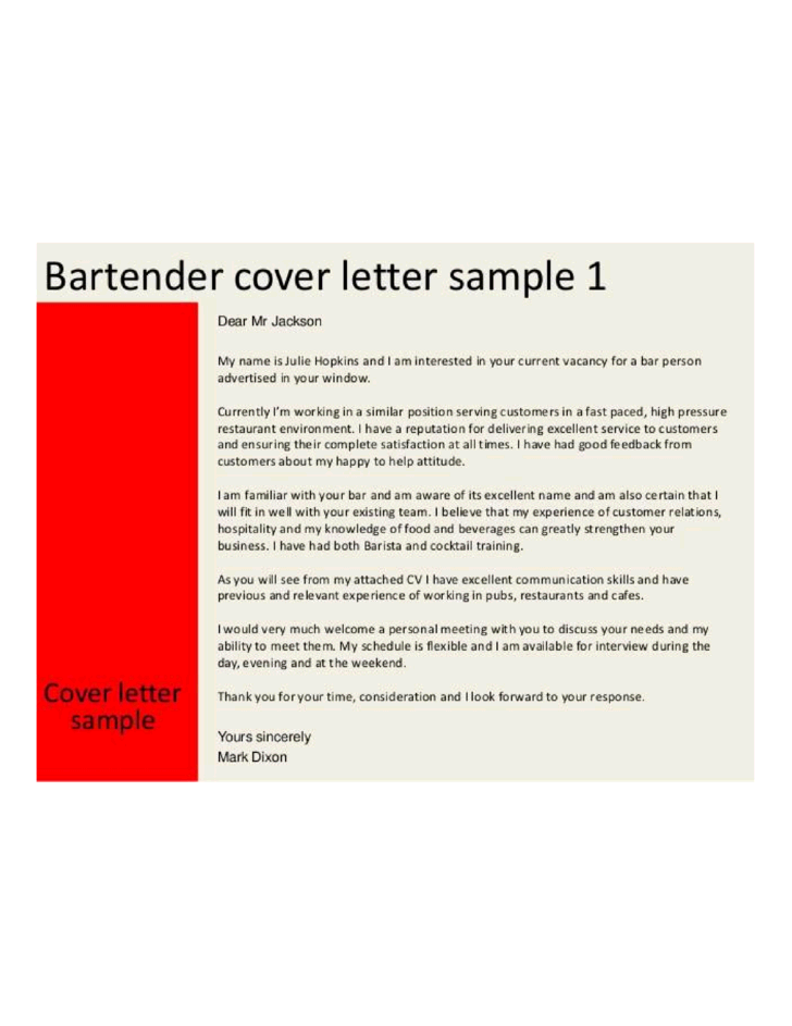 Basic Restaurant Bartender Cover Letter Samples and Templates