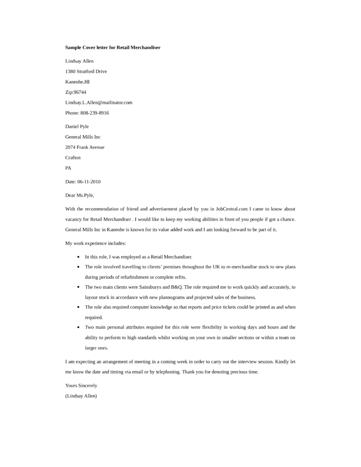 basic retail merchandiser cover letter