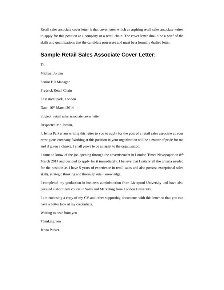 Resume cover letter retail sales associate - Sales Associate Cover ...