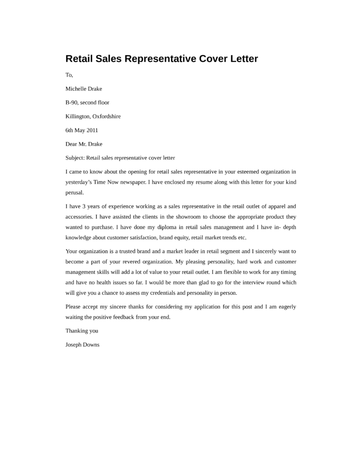 basic retail sales representative cover letter