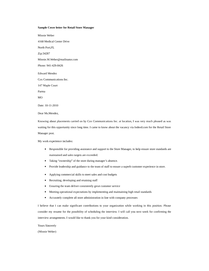 resume cover letter for retail store manager +20 examples to show you how to write a perfect retail resume use our  or  work a few days free at your local goodwill store hey, presto  the best cover  letters for retail jobs call the hiring manager by name they say one.