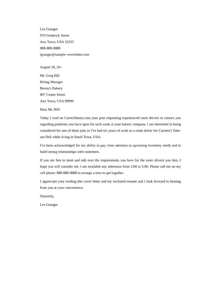 Sample Driver Application Cover Letter - Cover BB