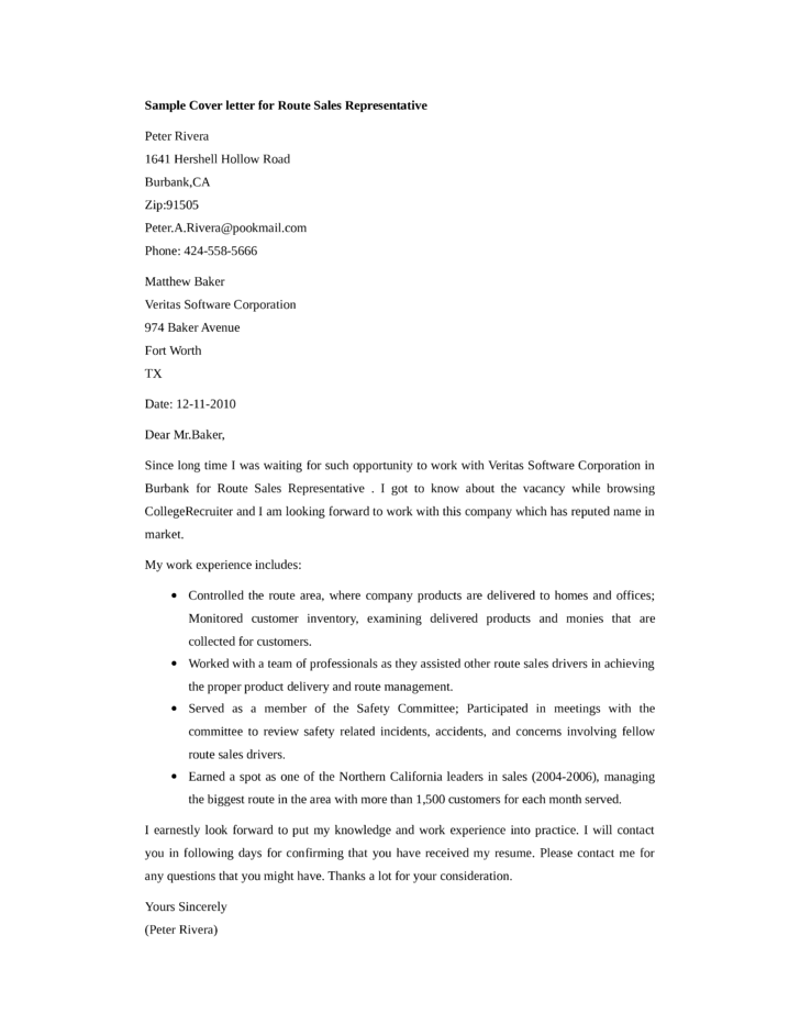 basic route sales representative cover letter - Sales Representative Cover Letter Samples