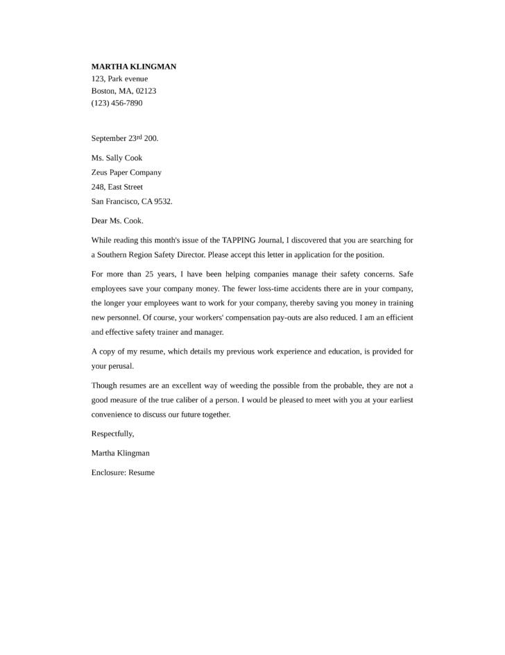 Basic Safety Manager Cover Letter Samples And Templates