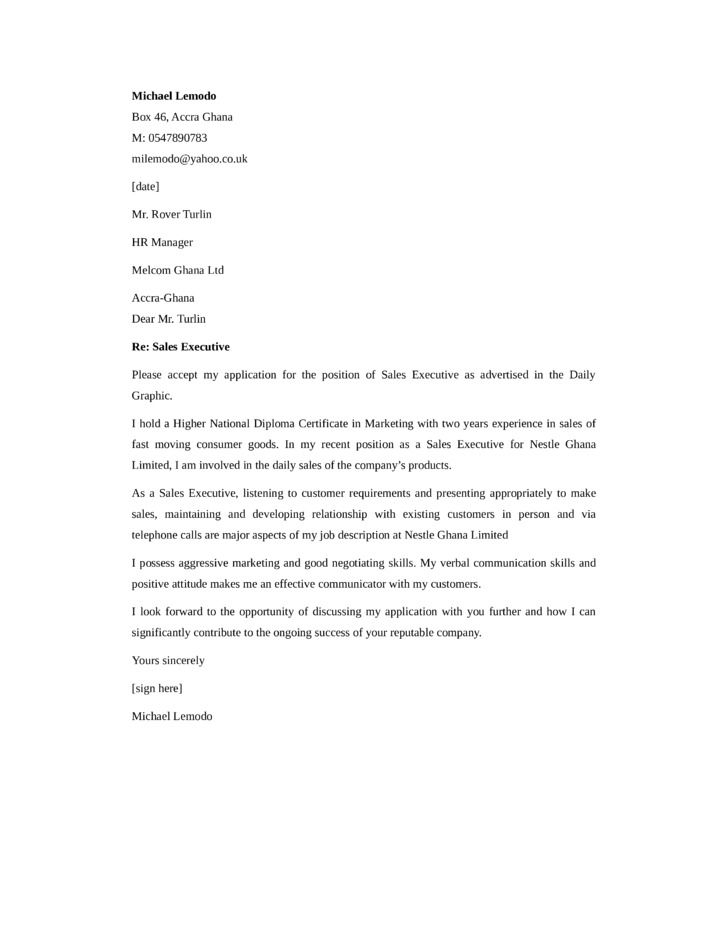 Basic Sales Executive Cover Letter