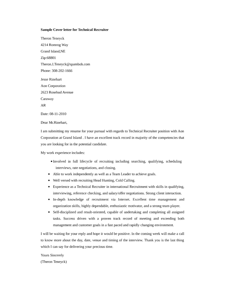 Basic technical recruiter cover letter samples and templates for Cover letter examples for recruiter position
