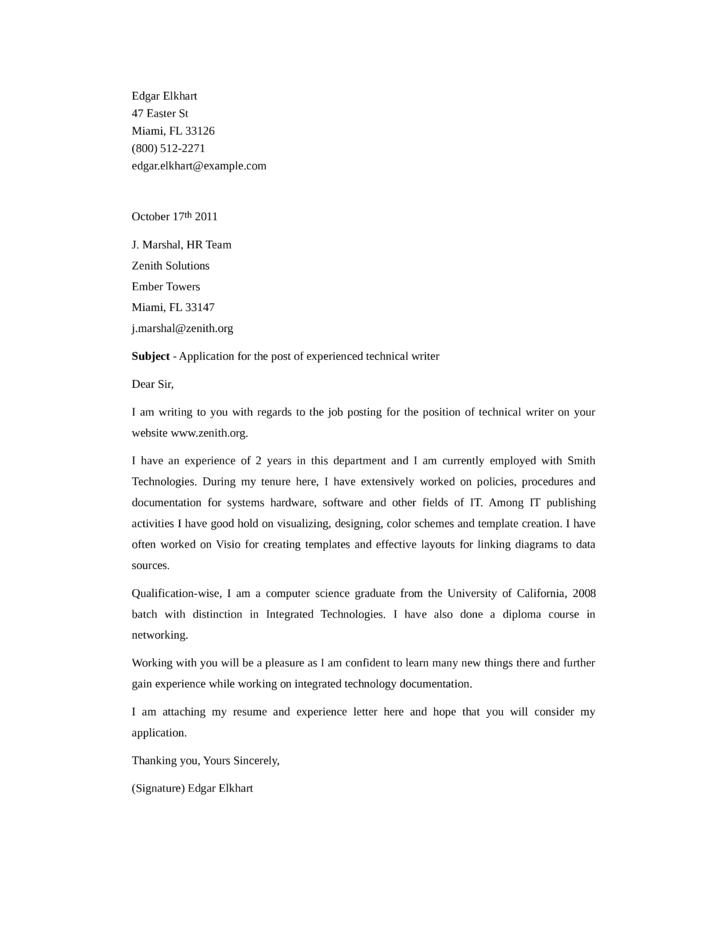 technical writing cover letter - zrom.tk