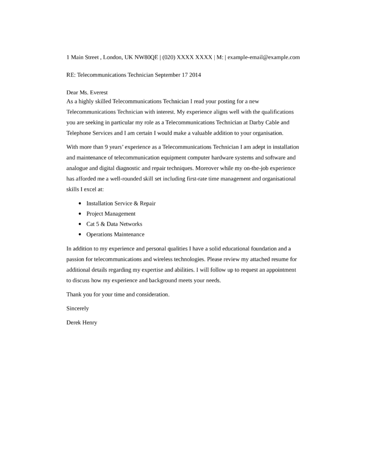 Cover Letter For Telecommunications
