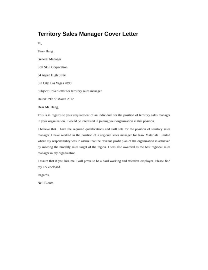 basic territory sales manager cover letter - Regional Sales Manager Cover Letter