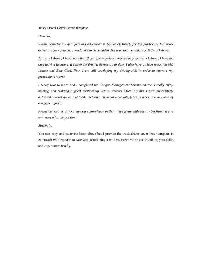basic truck driver cover letter samples and templates