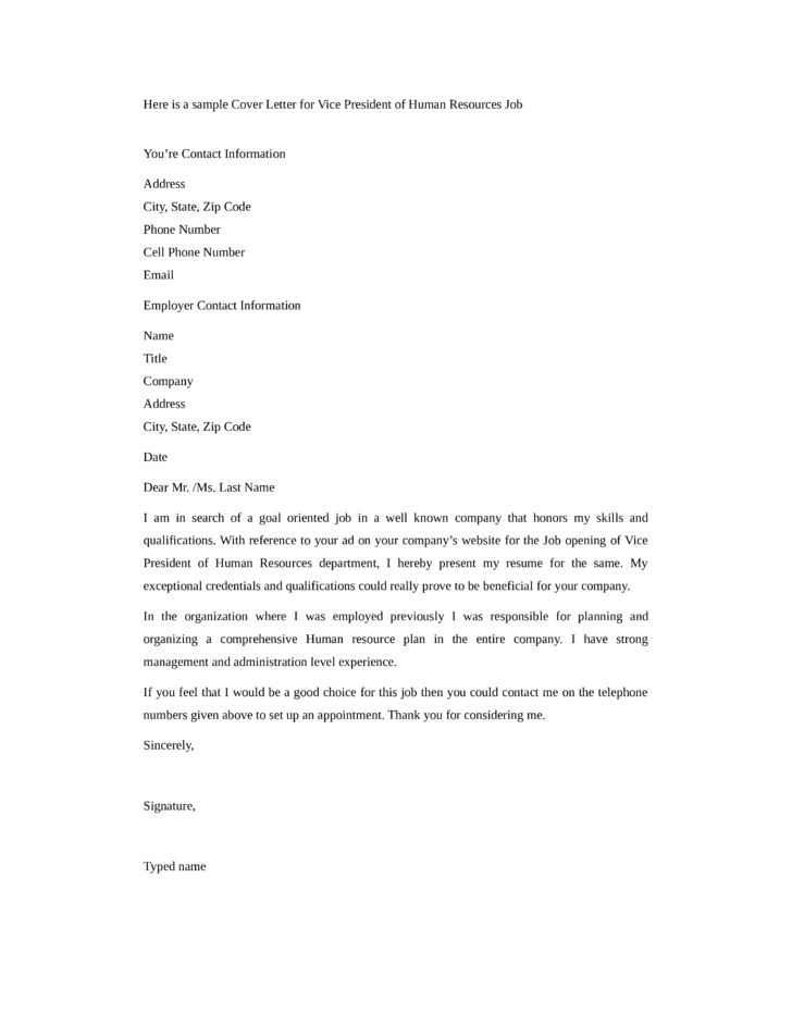 Basic VP Of Human Resources Cover Letter Samples And Templates