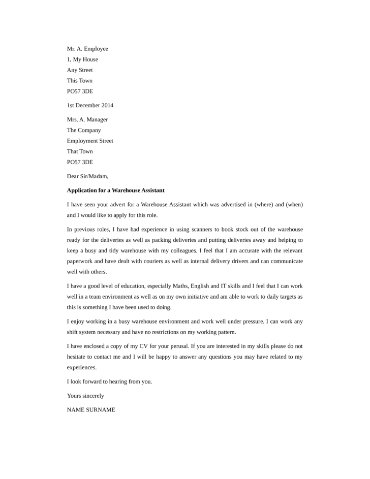 Basic Warehouse Assistant Cover Letter Samples and Templates