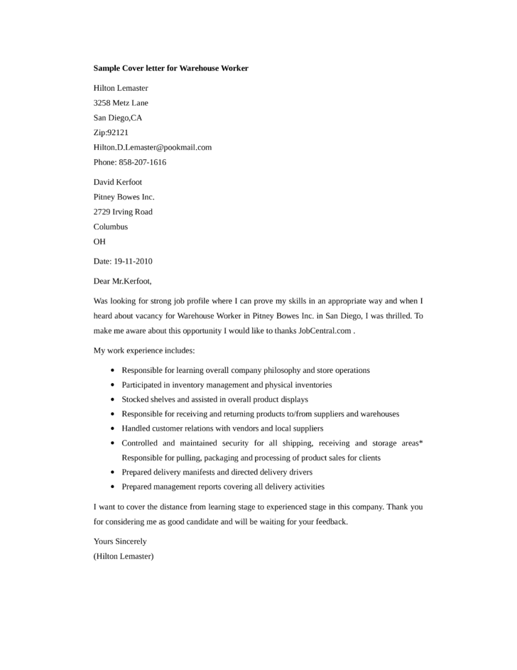 Basic Warehouse Worker Cover Letter