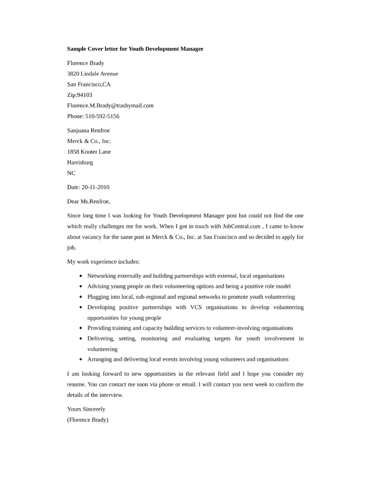 basic youth development manager cover letter samples and