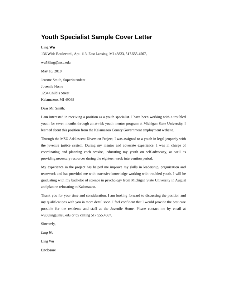 Basic youth specialist cover letter samples and templates for Cover letter for youth worker position