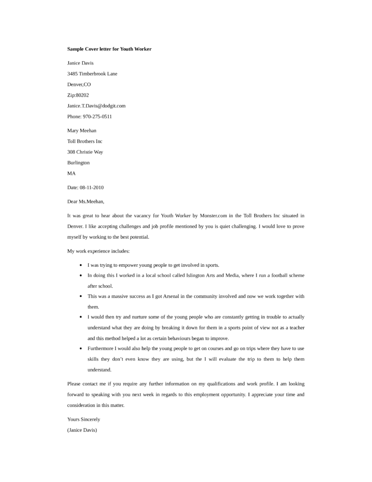 basic youth worker cover letter - Youth Worker Cover Letter