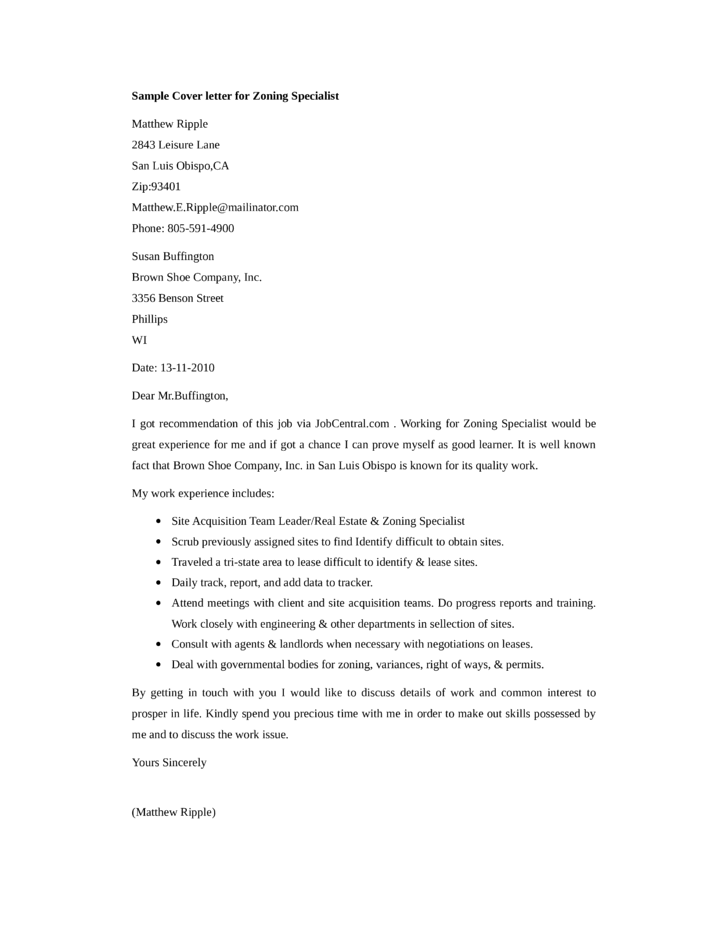 Basic Zoning Specialist Cover Letter