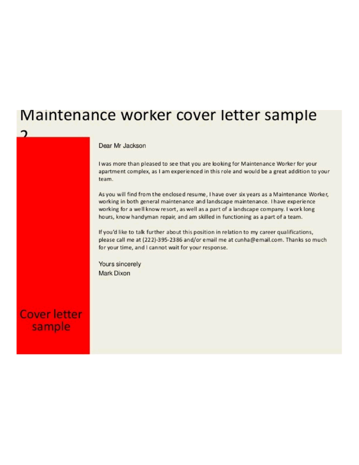 building maintenance worker cover letter - Aintenance Cover Letter