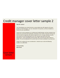 Business Credit Manager Cover Letter