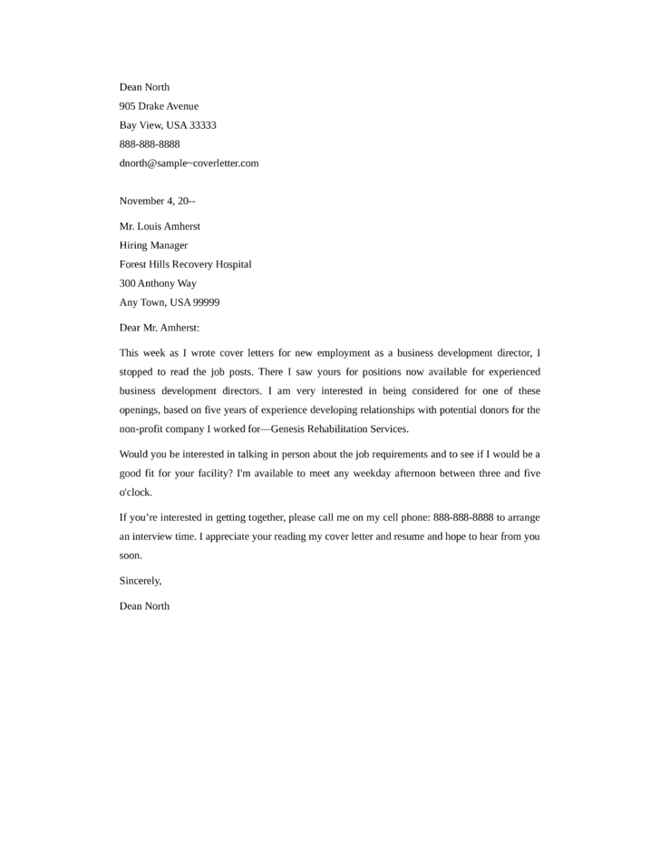 Business development director cover letter samples and for Cover letter for enquiring possible job vacancies