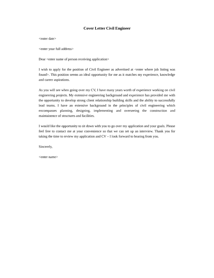 Cover Letter For Resume Engineering Cover Letter Example Civil Engineering  Student Resume Engineering Cover Letter Sample  Cover Letter Engineering