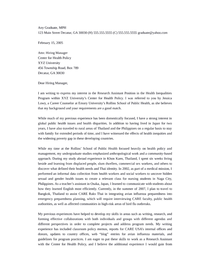 clinical research assistant cover letter - Research Cover Letter