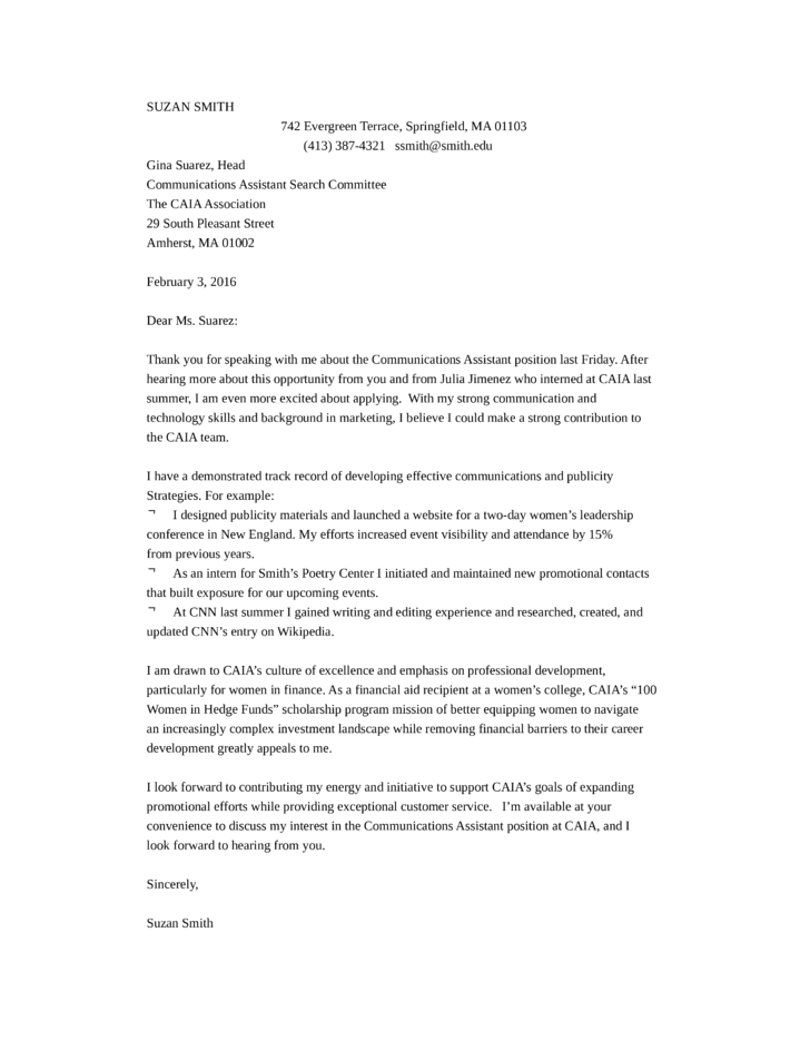 communications assistant cover letter samples and templates