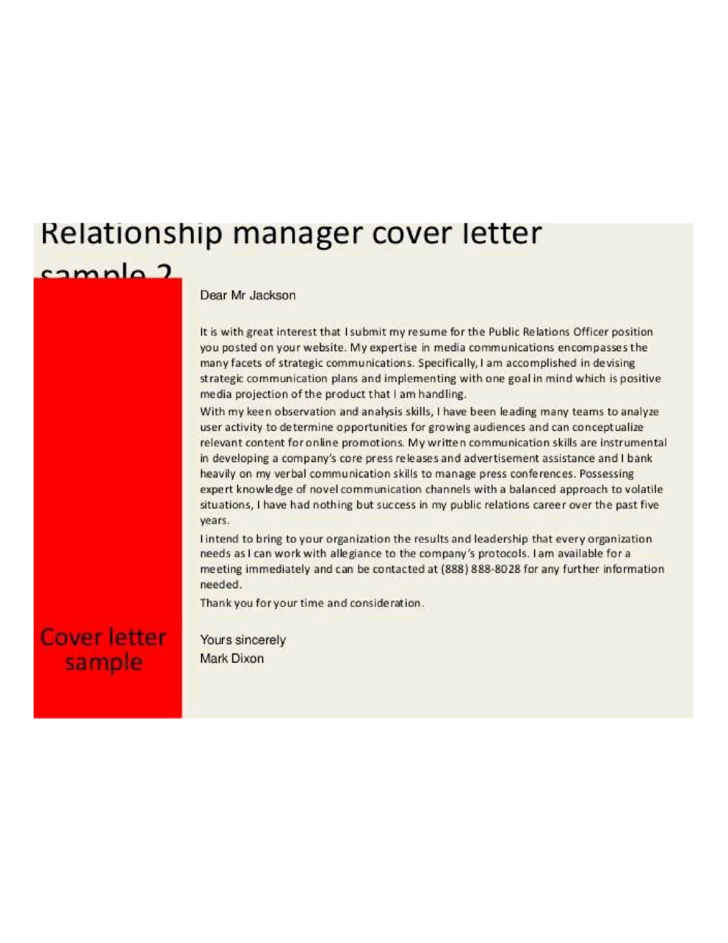 Customer Relationship Manager Cover Letter Samples And
