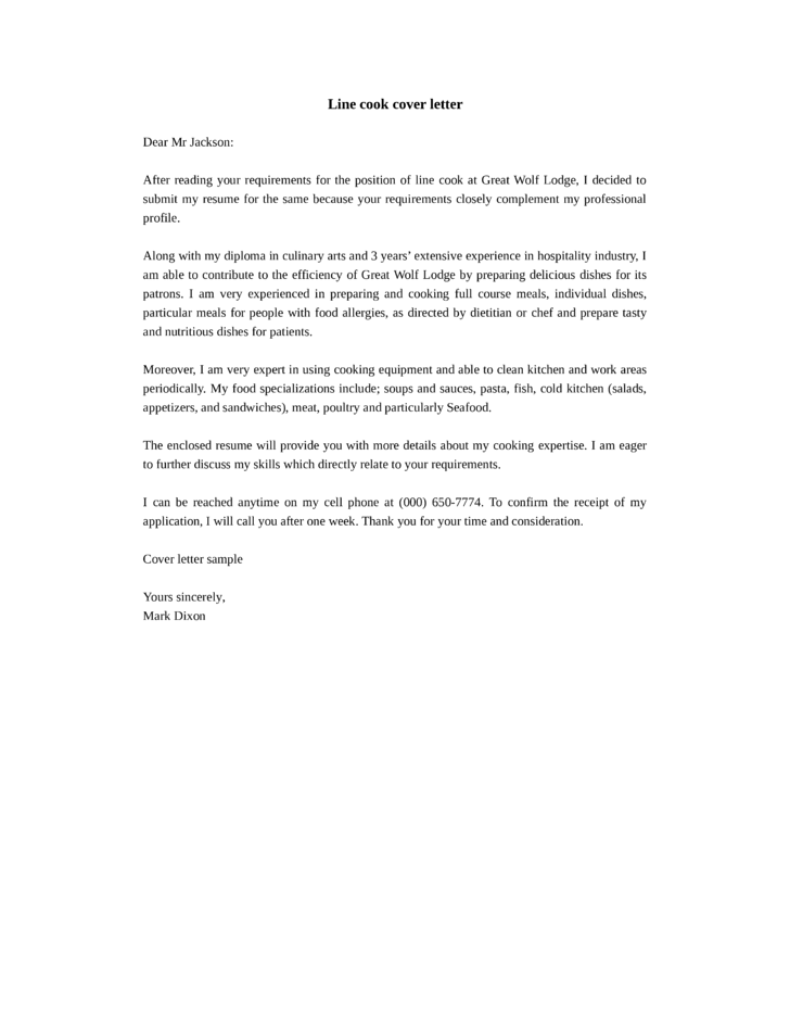Decent cook cover letter samples and templates for Cover letter for a cook position