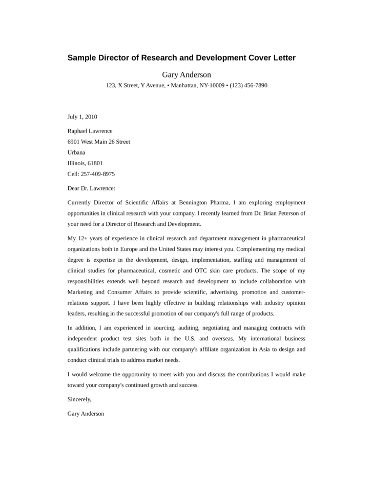 director of research and development cover letter - Research Cover Letter
