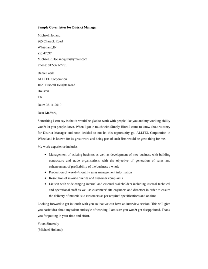 District Manager Cover Letter Samples and Templates