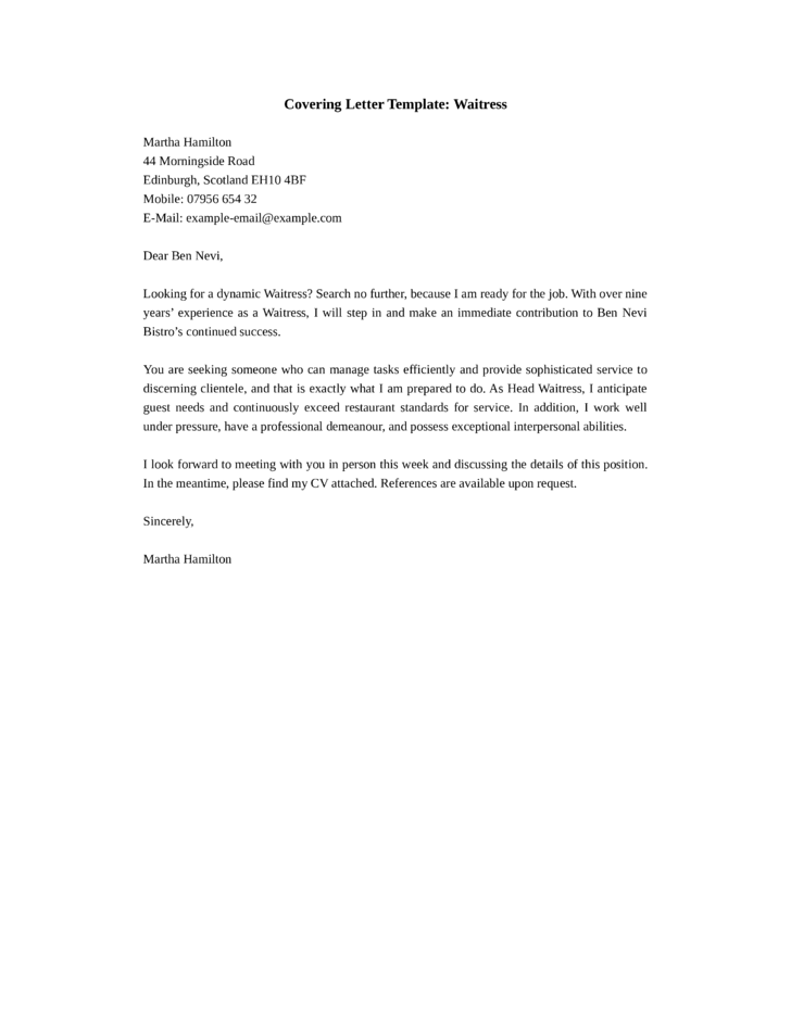 Dynamic wait staff cover letter samples and templates for How to write a dynamic cover letter