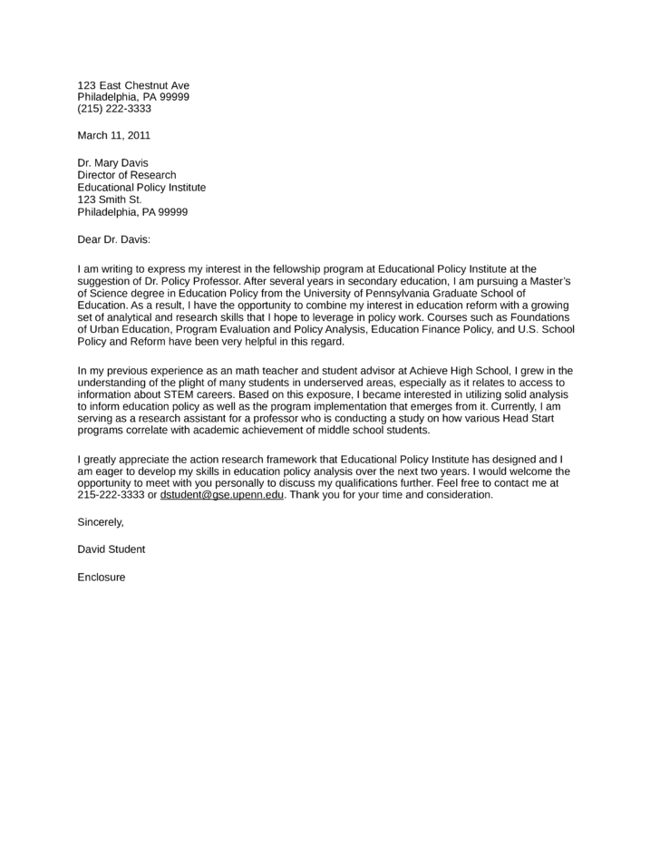 Educational Policy Institute Cover Letter Samples and Templates