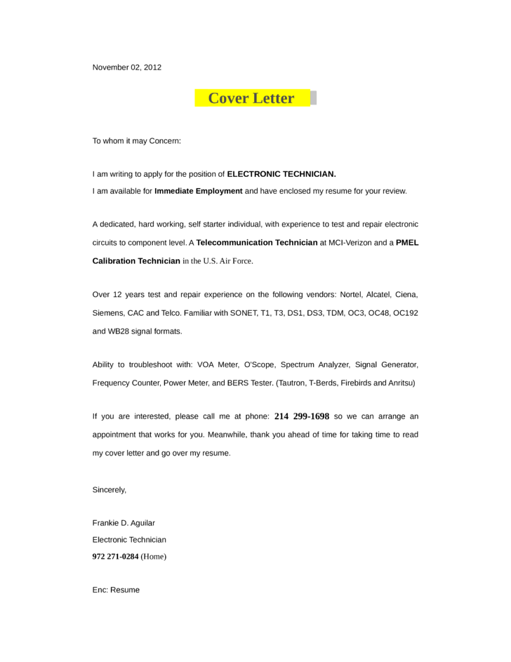 Cover letter for electronic technician position