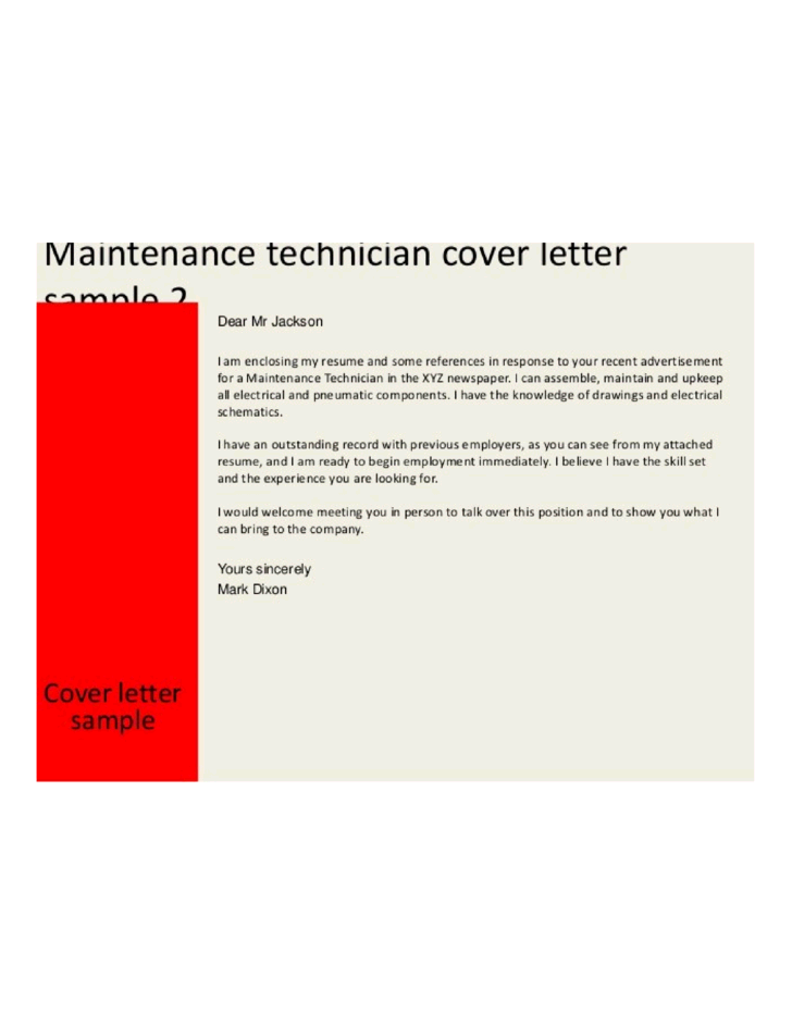 Electronics maintenance technician cover letter samples for Cover letter for maintenance mechanic position