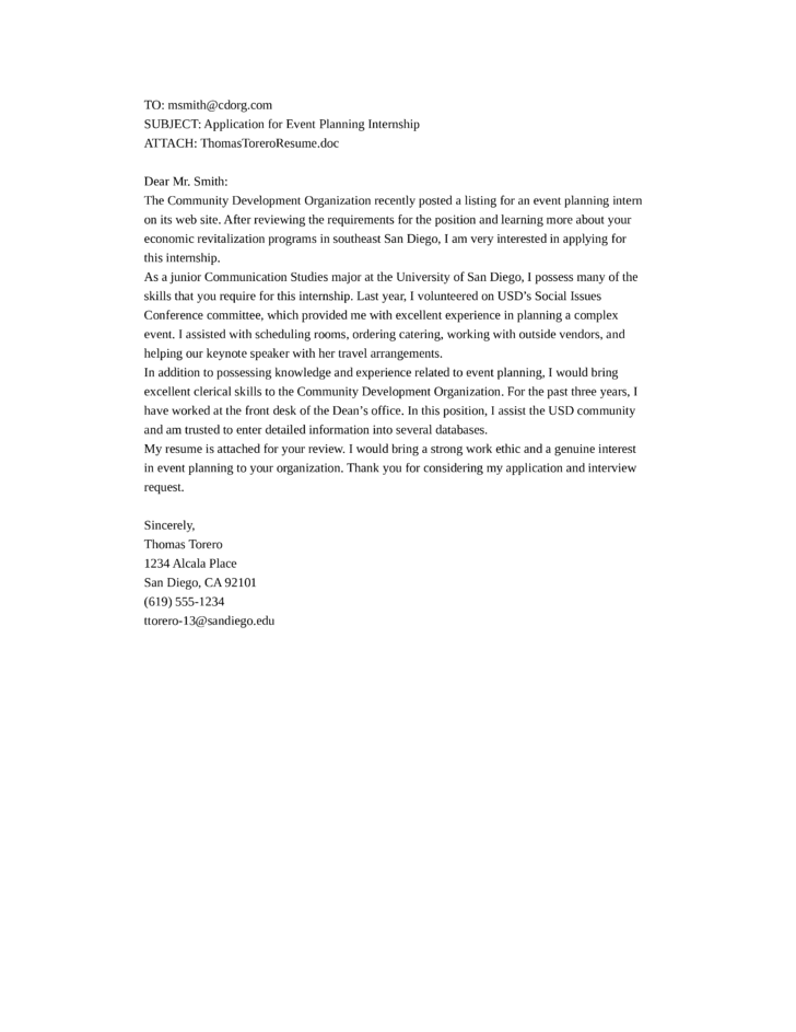 cover letter for an internship position Cover letter samples for an internship click to view as pdf general outline click to view as pdf with accompanying job description click to view as pdf 1 2 3 previous next for academic teaching position samples, see masters, phd' s and post-docs section questions and comments.
