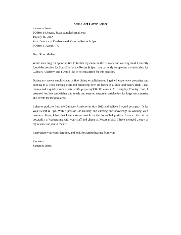 cover letter for sous chef - Cover Letters For Chefs
