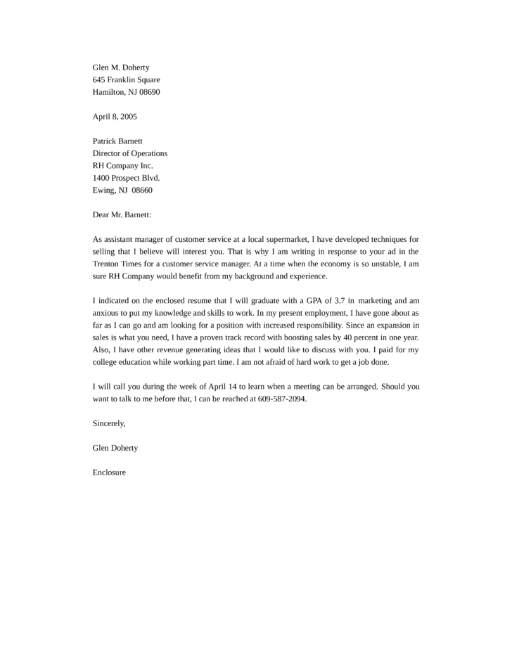 Cover letter for a customer service position Sample Cover Letters     LiveCareer