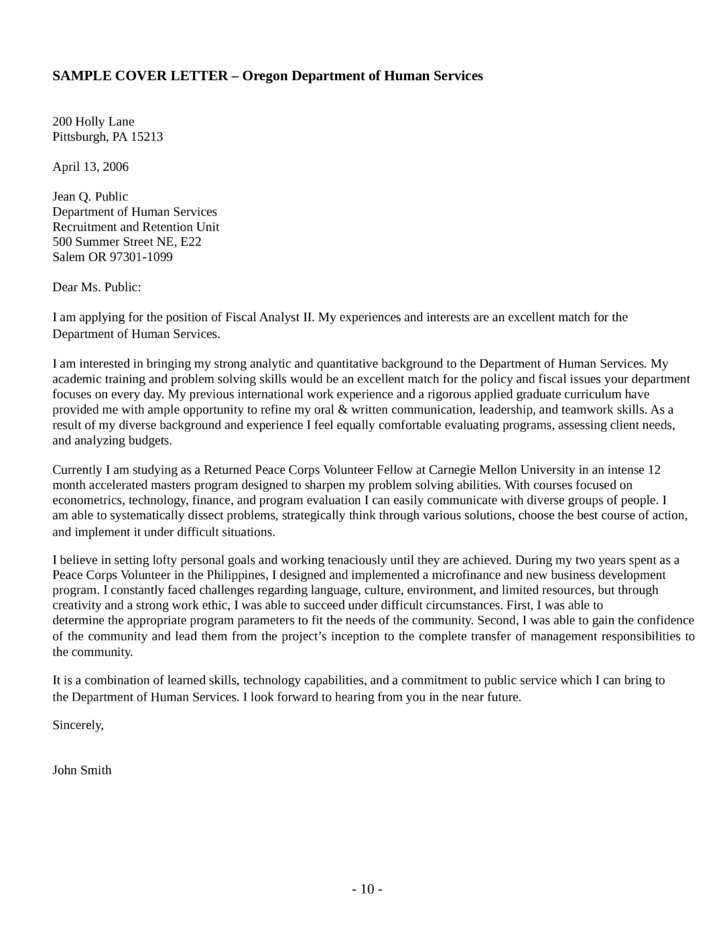 Fiscal Analyst II Cover Letter Samples and Templates – Human Services Cover Letter Examples